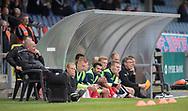 FODBOLD: FC Helsingørs bænk under kampen i NordicBet Ligaen mellem Nykøbing FC og FC Helsingør den 19. maj 2019 på CM Arena i Nykøbing Falster. Foto: Claus Birch