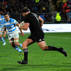 Joe Moody makes a clean break during the Rugby Championship match between the NZ All Blacks and Argentina Pumas at Yarrow Stadium in New Plymouth, New Zealand on Saturday, 9 September 2017. Photo: Dave Lintott / lintottphoto.co.nz