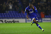 Freddie Ladapo of Oldham Athletic runs off to celebrate scoring the opening goal of the game to make the score 1-0 during the EFL Sky Bet League 1 match between Oldham Athletic and Scunthorpe United at Boundary Park, Oldham, England on 18 October 2016. Photo by Simon Brady.