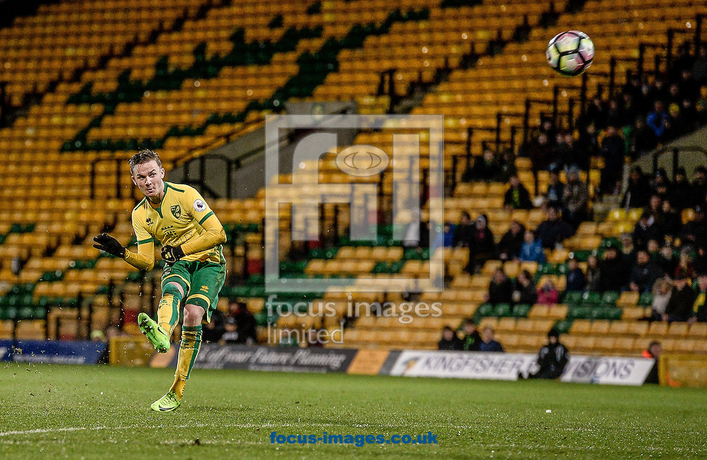 James Maddsion of Norwich City U23 hits the bar with a free kick versus Dinamo Zagreb U23 during the Premier League International Cup Quarter-Final match at Carrow Road, Norwich<br /> Picture by Matthew Usher/Focus Images Ltd +44 7902 242054<br /> 27/02/2017