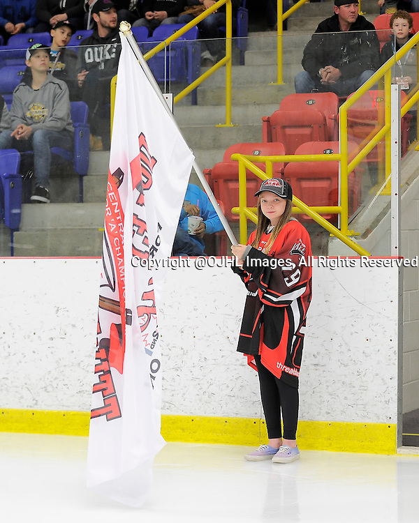 FORT FRANCES, ON - Apr 28, 2015 : Central Canadian Junior &quot;A&quot; Championship, game action between the Toronto Patriots and the Fort Frances Lakers, game two of the Dudley Hewitt Cup, during the opening ceremony<br /> (Photo by Amy Deroche/ OJHL Images)