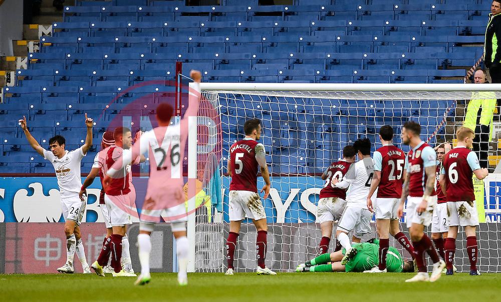 Jack Cork of Swansea City celebrates after his shot is deflected into the goal by Kieran Trippier - Photo mandatory by-line: Matt McNulty/JMP - Mobile: 07966 386802 - 28/02/2015 - SPORT - Football - Burnley - Turf Moor - Burnley v Swansea City - Barclays Premier League