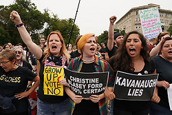 October 6, 2018 - Washington, District of Columbia, U.S. - Hundreds of protesters flooded the front of the U.S. Capital and Supreme Court as the U.S. Senate voted to confirm Judge Brett Kavanaugh to a seat on the U.S. Supreme Court. Police arrested dozens of protesters. (Credit Image: © Jay Mallin/ZUMA Wire)