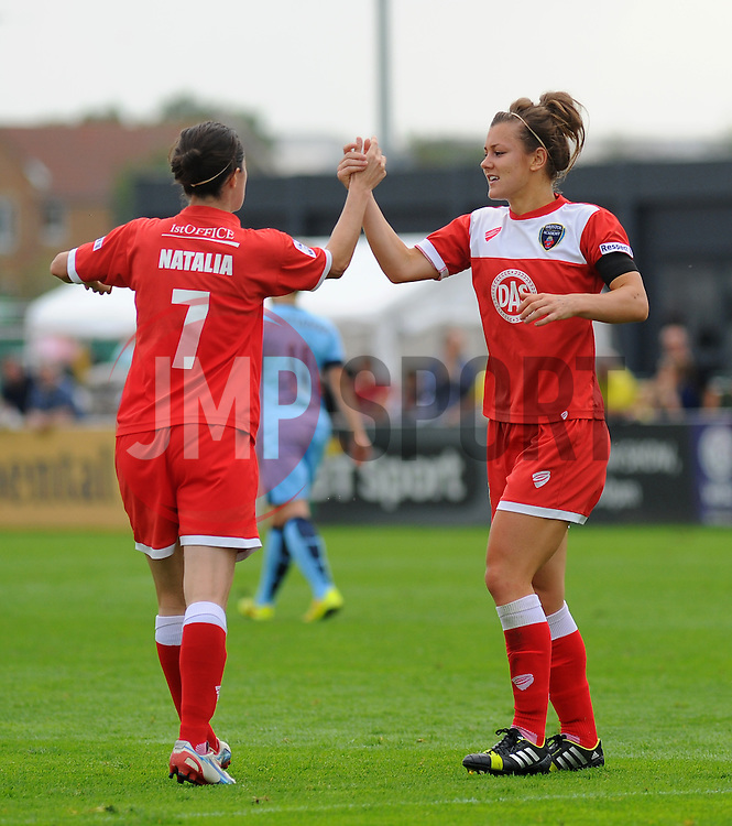 Bristol Academy Womens' Jemma Rose celebrates with team mate Natalia Pablos Sanchon. - Photo mandatory by-line: Nizaam Jones- Mobile: 07583 387221 - 28/09/2014 - SPORT - Women's Football - Bristol - SGS Wise Campus - BAWFC v Man City Ladies - sport