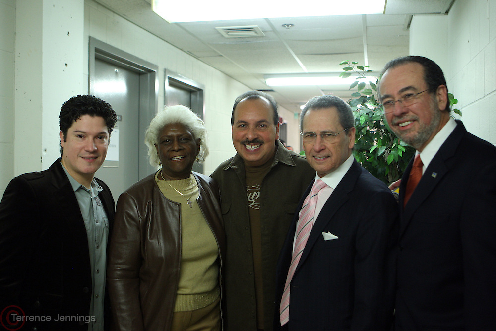10 December 2010- Bronx, NY-  l to r: Frankie Negron, Bronx Deputy Borough President Auriela Greene, Isidro Infante, Paco Navarro and Alivin Aviles, President, Health and Hospitals Corporation at Stat! For NYC's Public Hospitals Benefit Concert Series held at CUNY's Lehman College Performing Arts Center on December 9, 2010 in the Bronx, NY. ..Stat! for NYC's Hospitals are an immediate call to action to benefit New York City's Public Hospitals and demonstrates the essential role that the 35,000 Staff Members play  in the daily lives of millions of New York City Residents. Photo Credit: Terrence Jennings