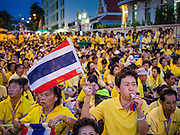05 MAY 2104 - BANGKOK, THAILAND:  An anti-government protester blows her whistle at an anti-government pro-monarchy rally in Bangkok. Thousands of Thais packed the area around Sanam Luang and the Grand Palace Monday evening for a special ceremony to mark Coronation Day, which honored the 64th anniversary of the coronation of Bhumibol Adulyadej, the King of Thailand. Many of the people also support the anti-government movement led by Suthep Thaugsuban. Most of the anti-government protesters are conservative supporters of the monarchy.   PHOTO BY JACK KURTZ