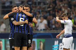 September 18, 2018 - Milan, Milan, Italy - Mauro Icardi #9 of FC Internazionale Milano, Matias Vecino #8 of FC Internazionale Milano and Stefan De Vrij #6 of FC Internazionale Milano celebrate a victory at the end of the UEFA Champions League group B match between FC Internazionale and Tottenham Hotspur at Stadio Giuseppe Meazza on September 18, 2018 in Milan, Italy. (Credit Image: © Giuseppe Cottini/NurPhoto/ZUMA Press)