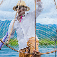 INLE LAKE , MYANMAR - SEP 07 : Burmese fisherman at Inle lake Myanmar on September 07 2017 , inle Lake is a freshwater lake located in Shan state