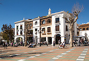 Town centre buildings in popular holiday resort town of Nerja, Malaga province, Spain
