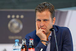 08.06.2015, Mercedes Benz Zenter, Koeln, GER, Nationalmannschaft, Pressekonferenz, im Bild Sportlicher Leiter Oliver Bierhoff nachdenklich mit dem Kopf auf die Haende gestuetzt // during a press conference of the german national football team at the Mercedes Benz Zenter in Koeln, Germany on 2015/06/08. EXPA Pictures © 2015, PhotoCredit: EXPA/ Eibner-Pressefoto/ Schüler<br /> <br /> *****ATTENTION - OUT of GER*****