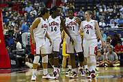 Team USA Maya Moore (7), Tina Charles (14), Swin Cash (11) and Lindsay Whalen (4) during the 2012 USA Women's Basketball Team versus Brazil at Verizon Center in Washington, DC.  July 16, 2012  (Photo by Mark W. Sutton)