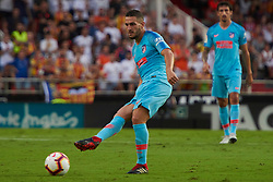 August 20, 2018 - Valencia, U.S. - VALENCIA, SPAIN  - AUGUST 20:  Koke midfielder of Atletico de Madrid try the pass  during the La Liga between Valencia CF and Atletico de Madrid on August 20, 2018 at Mestalla in Valencia, Spain. (Photo by Carlos Sanchez Martinez/Icon Sportswire) (Credit Image: © Carlos Sanchez Martinez/Icon SMI via ZUMA Press)