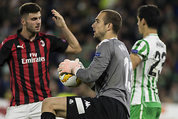 November 8, 2018 - Seville, Spain - PAU LOPEZ of Betis (C) makes a save during the Europa League Group F soccer match between Real Betis and AC Milan at the Benito Villamarin Stadium (Credit Image: © Daniel Gonzalez Acuna/ZUMA Wire)