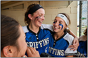 Girls Softball-LWE vs. Lockport-Griffins Alex Storako congratulates Danielle Drogemuller after Danielle's HR