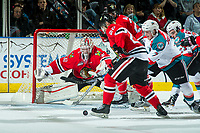 KELOWNA, CANADA - APRIL 7: Cole Kehler #31 of the Portland Winterhawks  poke checks Lucas Johansen #7 of the Kelowna Rockets on April 7, 2017 at Prospera Place in Kelowna, British Columbia, Canada.  (Photo by Marissa Baecker/Shoot the Breeze)  *** Local Caption ***