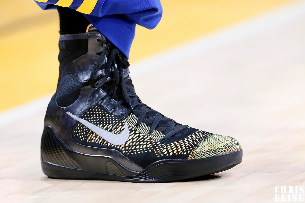 11 April 2014: Close view of Golden State Warriors guard Jordan Crawford (55) shoes prior to the Golden State Warriors 112-95 victory over the Los Angeles Lakers at the Staples Center, Los Angeles, California, USA.