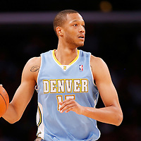 06 October 2013: Denver Nuggets power forward Anthony Randolph (15) looks to pass the ball during the Denver Nuggets 97-88 victory over the Los Angeles Lakers at the Staples Center, Los Angeles, California, USA.