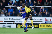 Burton Albion striker Marvin Sordell (17) battles for the ball with Ipswich Town defender Adam Webster (6) during the EFL Sky Bet Championship match between Burton Albion and Ipswich Town at the Pirelli Stadium, Burton upon Trent, England on 28 October 2017. Photo by Richard Holmes.