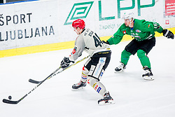 Ales Music of HK SZ Olimpija during Ice Hockey match between HK SZ Olimpija Ljubljana and HDD Jesenice in Round #24 of Alps Hockey League, on December 22, 2018 in Hala Tivoli, Ljubljana, Slovenia. Photo by Ziga Zupan / Sportida