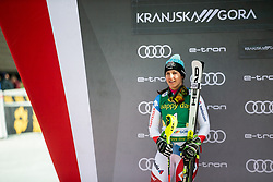 celebrating after the Ladies' Slalom at 56th Golden Fox event at Audi FIS Ski World Cup 2019/20, on February 16, 2020 in Podkoren, Kranjska Gora, Slovenia. Photo by Matic Ritonja / Sportida