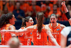 10–01-2020 NED: Olympic qualification tournament women Netherlands - Poland, Apeldoorn<br /> The Dutch volleyball players lost the third group match of the OKT in Apeldoorn 3-1 against Poland / Celeste Plak #4 of Netherlands, Robin de Kruijf #5 of Netherlands, Anne Buijs #11 of Netherlands