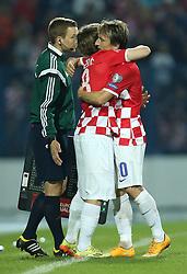 13.10.2014, Stadion Gradski vrt, Osijek, CRO, UEFA Euro Qualifikation, Kroatien vs Aserbaidschan, Gruppe H, im Bild Alen Halilovic, Luka Modric // during the UEFA EURO 2016 Qualifier group H match between Croatia and Azerbaijan at the Stadion Gradski vrt in Osijek, Croatia on 2014/10/13. EXPA Pictures © 2014, PhotoCredit: EXPA/ Pixsell/ Igor Kralj<br /> <br /> *****ATTENTION - for AUT, SLO, SUI, SWE, ITA, FRA only*****