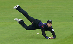 Chris Dent of Gloucestershire drops the catch - Photo mandatory by-line: Dougie Allward/JMP - Mobile: 07966 386802 - 15/05/2015 - SPORT - Cricket - Bristol - Bristol County Ground - Gloucestershire County Cricket v Middlesex County Cricket - NatWest T20 Blast