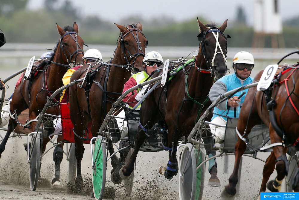 Horse and riders in action during the Winton Harness Racing Club Race meeting at the Central Southland Raceway, WInton, Southland, New Zealand. 10th February 2012. Photo Tim Clayton