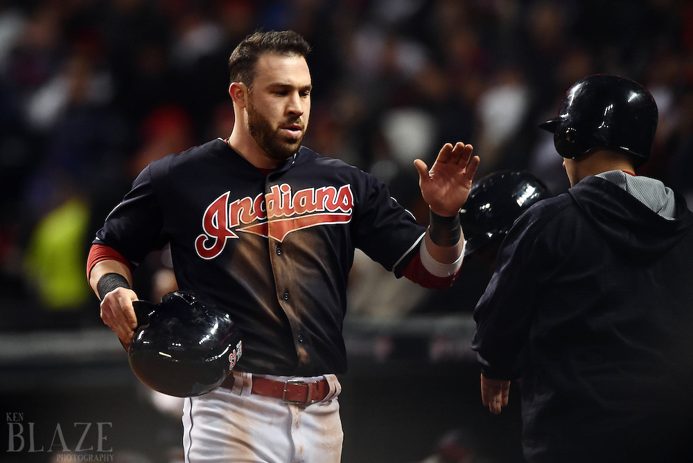 Oct 26, 2016; Cleveland, OH, USA; Cleveland Indians second baseman Jason Kipnis after scoring a run against the Chicago Cubs in the 6th inning in game two of the 2016 World Series at Progressive Field. Mandatory Credit: Ken Blaze-USA TODAY Sports