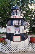 Lighthouse shaped espresso shop Maine.
