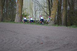 Cervélo-Bigla Cycling Team riders pick up speed after a sharp corner during Stage 2 of the Healthy Ageing Tour - a 19.6 km team time trial, starting and finishing in Baflo on April 6, 2017, in Groeningen, Netherlands.