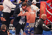 Eddie Hearn congratulates Tony Bellew after his win at the O2 Arena, London, United Kingdom on 5 May 2018. Picture by Phil Duncan.