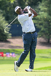 August 9, 2018 - Town And Country, Missouri, U.S - The grass flies as VIJAY SINGH from Fiji tees off from the 13th hole during round one of the 100th PGA Championship on Thursday, August 8, 2018, held at Bellerive Country Club in Town and Country, MO (Photo credit Richard Ulreich / ZUMA Press) (Credit Image: © Richard Ulreich via ZUMA Wire)
