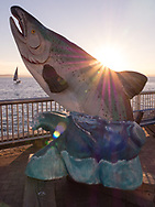 Salmon statue on Seattle pier