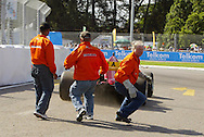 Durban, South Africa, 24th February 2007. GV Marshals during the timed qualifying sessions held as part of the A1GP race weekend in Durban, South Africa on 24th & 25th February 2007. Photo: RG/Sportzpics.net........240207