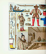 Inuit (Eskimo) fashion and accessories from Geschichte des kostüms in chronologischer entwicklung (History of the costume in chronological development) by Racinet, A. (Auguste), 1825-1893. and Rosenberg, Adolf, 1850-1906, Volume 1 printed in Berlin in 1888