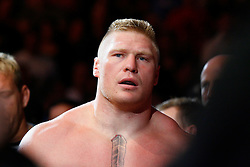 August 9, 2008; Minneapolis, MN, USA;  Heavyweights Brock Lesnar (black trunks) and Heath Herring (black/yellow trunks) battle during their bout at the Target Center in Minneapolis, MN at UFC 87: Seek and Destroy.  Lesnar won a 3 round unanimous decision.