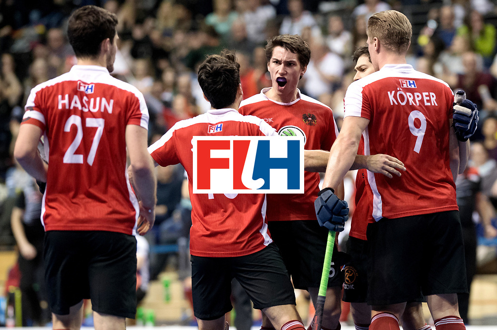 BERLIN - Indoor Hockey World Cup<br /> Semi-final 2: Australia - Austria<br /> foto: Austria celebrating the 0-1.<br /> WORLDSPORTPICS COPYRIGHT FRANK UIJLENBROEK