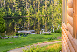 The dock on Long Pond outside the Appalachian Mountain Club's Gorman Chairback Lodge.