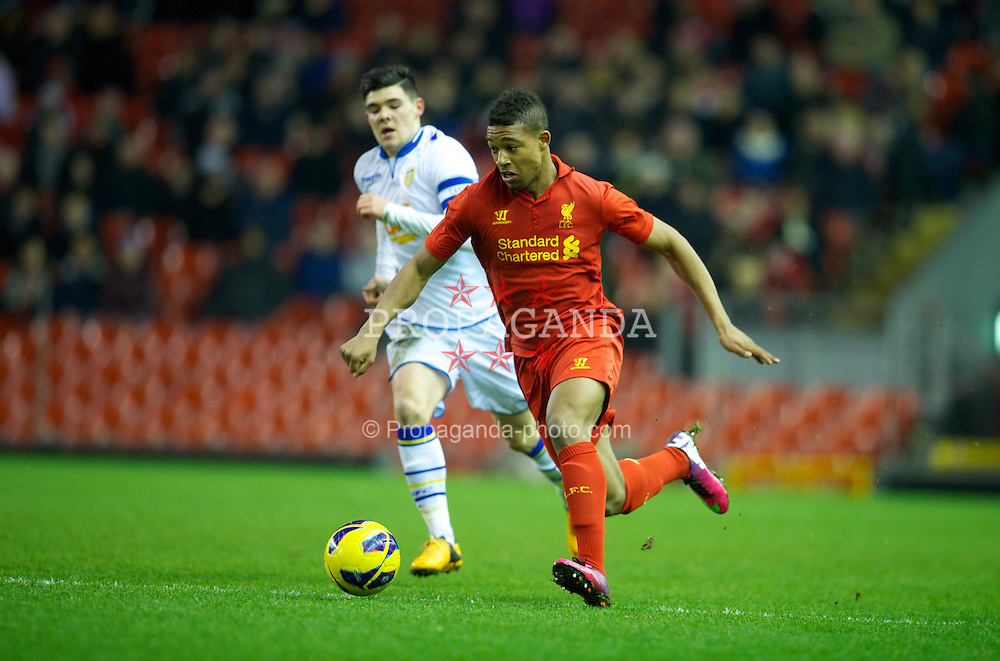 LIVERPOOL, ENGLAND - Thursday, February 28, 2013: Liverpool's Jordan Ibe in action against Leeds United's captain Alex Mowatt during the FA Youth Cup 5th Round match at Anfield. (Pic by David Rawcliffe/Propaganda)
