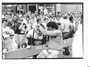 Eq/ Ave C. Sunday 24 May Loisaida Ave Carnaval Wrestlers. (Diabolico' night)New York© Copyright Photograph by Dafydd Jones 66 Stockwell Park Rd. London SW9 0DA Tel 020 7733 0108 www.dafjones.com