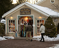 Sugar Loaf, NY - Shoppers walk toward the Into Leather store in the crafts village of Sugar Loaf on Dec. 12, 2009.