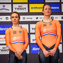 PIETERS Amy - WILD Kirsten ( NED ) – Netherlands - Winner - First Place – Award Ceremony - Medal Ceremony - Podium - Querformat - quer - horizontal - Landscape - Event/Veranstaltung: UCI Track Cycling World Championships 2020 – Track Cycling - World Championships - Berlin - Category/Kategorie: Cycling - Track Cycling – World Championships - Elite Women - Location/Ort: Europe – Germany - Berlin - Velodrom Berlin - Discipline: Madison - Distance: 30 km - Date/Datum: 29.02.2020 – Sunday – Day 4 - Photographer: © Arne Mill - frontalvision.com