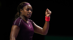 October 26, 2018 - Kallang, SINGAPORE - Sloane Stephens of the United States in action during her third match at the 2018 WTA Finals tennis tournament (Credit Image: © AFP7 via ZUMA Wire)