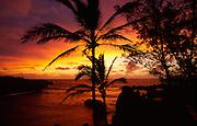 Sunset, Wainapanapa, Hana Coast, Maui, Hawaii<br />