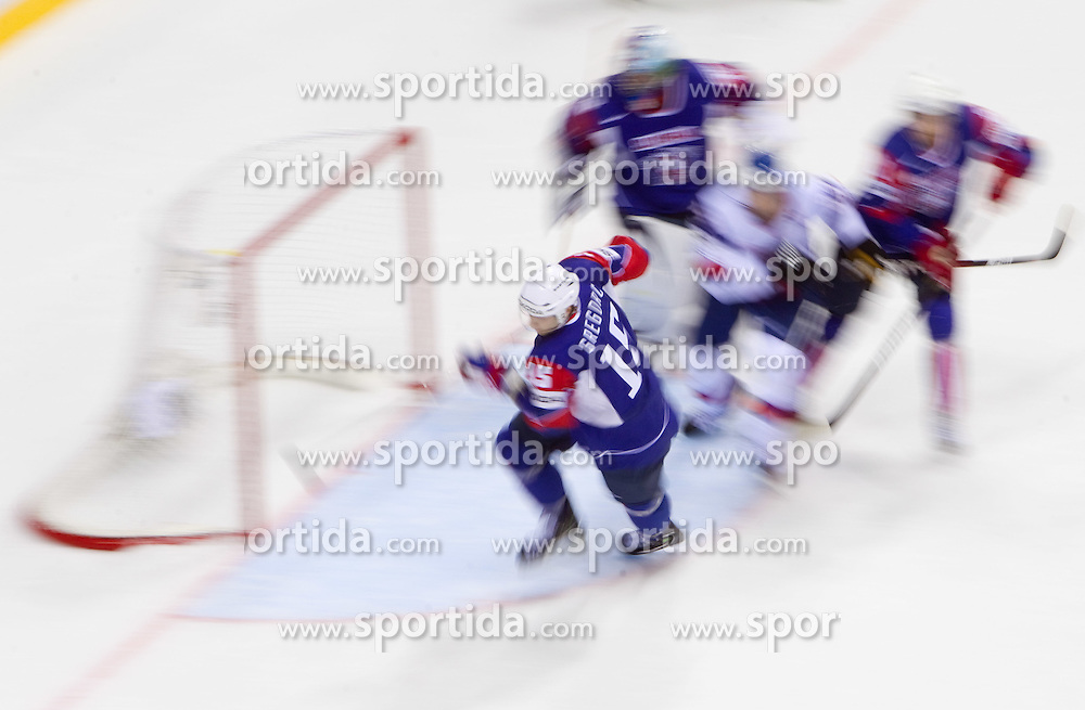 Blaz Gregorc of Slovenia during ice-hockey match between Slovakia and Slovenia of Group A of IIHF 2011 World Championship Slovakia, on April 29, 2011 in Orange Arena, Bratislava, Slovakia. (Photo By Vid Ponikvar / Sportida.com)