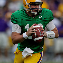 18 April 2009: LSU quarterback Jarrett Lee (12) scrambles from the pocket during the 2009 LSU spring football game at Tiger Stadium in Baton Rouge, LA.