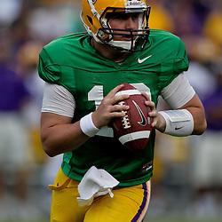 18 April 2009: LSU quarterback Jarrett Lee (12) scrambles from the pocket during the 2009 LSU spring football game at Tiger Stadium in Baton Rouge, LA.