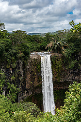 The 272 foot Chameral Falls in Mauritius in the Indian Ocean