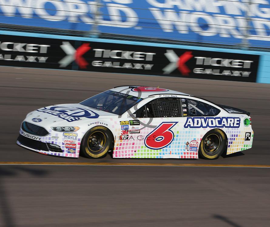 Trevor Bayne qualifies for Sunday's NASCAR Cup Series auto race on Friday, March 17, 2017, in Avondale, Ariz.  (AP Photo/Rick Scuteri)